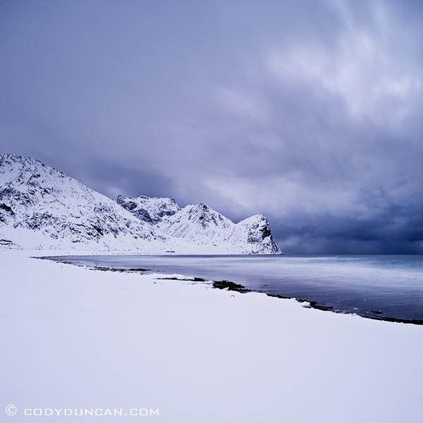 Snow Covered Beach Unstad Lofoten Islands Norway